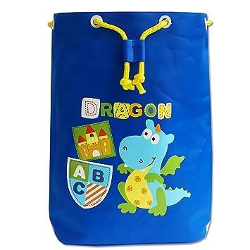 Gifts Treat Niños Bolsa de Deporte con Cordón con Cordón, Mochila Impermeable Liviana para Niños y Niñas (Azul Marino Dinosaurio)