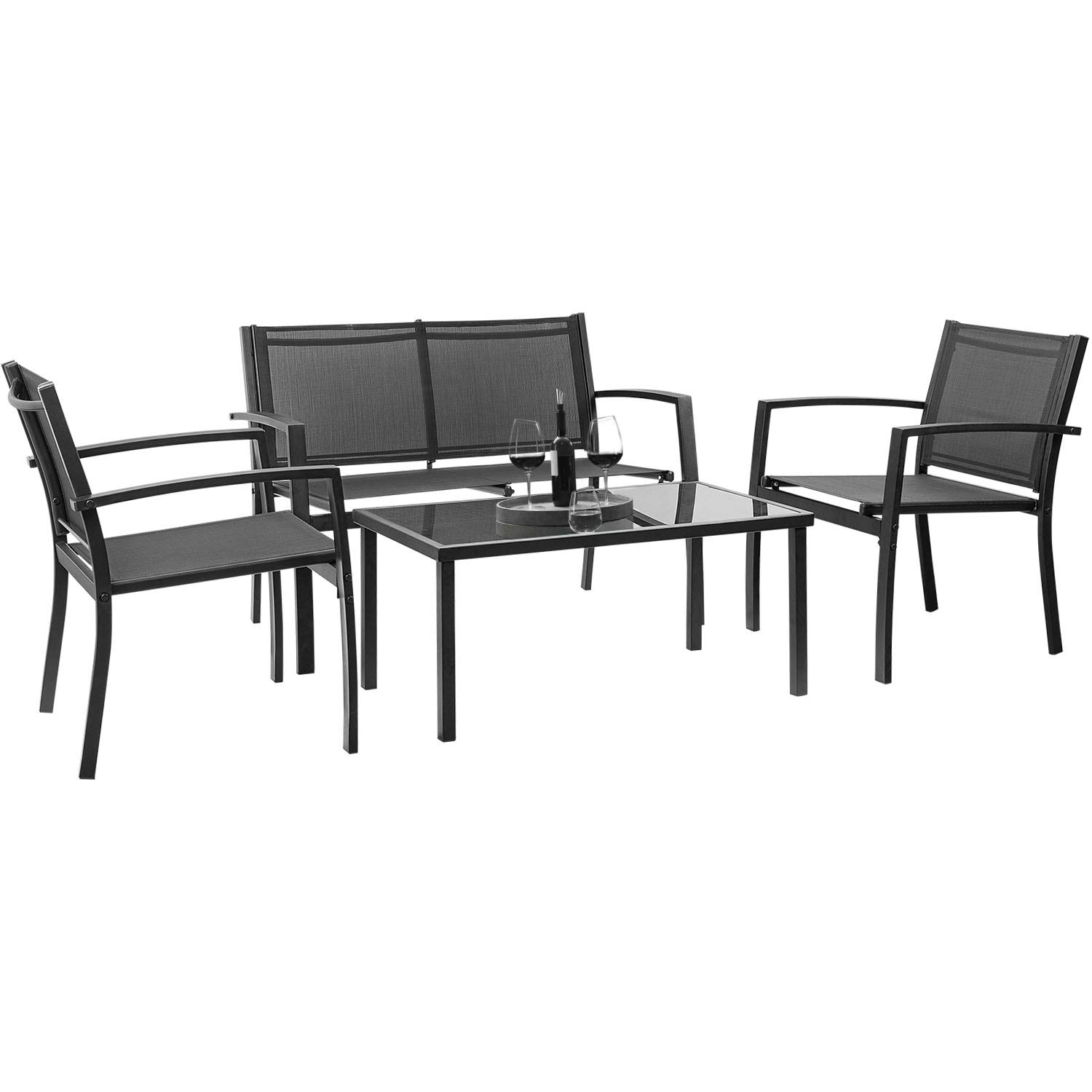 Devoko 4 Pieces Patio Furniture Set Outdoor Garden Patio Conversation Sets Poolside Lawn Chairs with Glass Coffee Table Porch Furniture (Black)