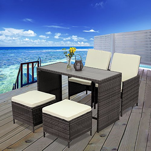 5 PCS Outdoor Rattan Wicker Bar Stool Set,Wisteria Lane All Weather Porch Sectional Sofa Wicker Dining Set Home Bar Furniture Rattan Chair and Table,Gray (Style Wicker Stools Bar)