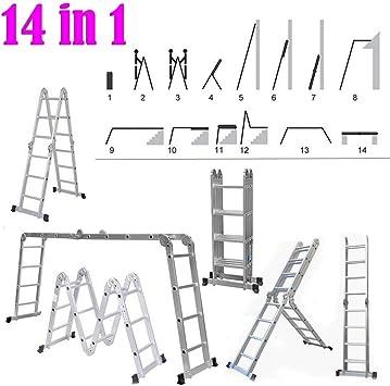 Escalera de 14 vías, 4 x 4 | Escalera de extensión, escalera y escalera multiusos con bandeja de herramientas UK: Amazon.es: Bricolaje y herramientas