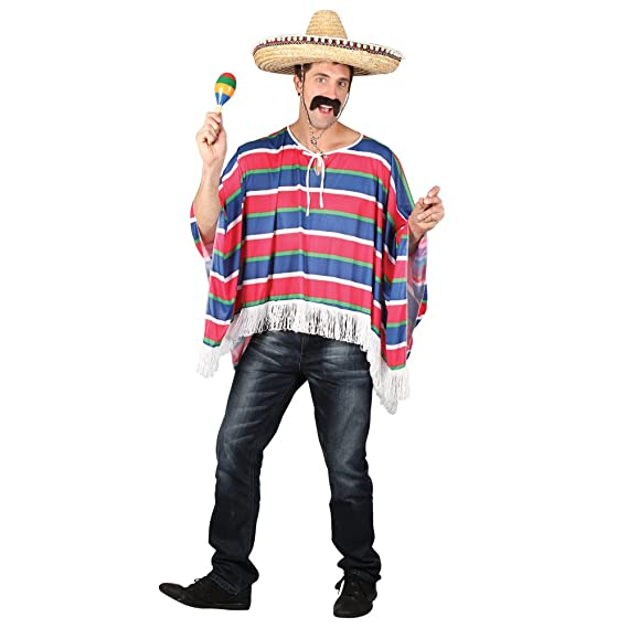Mexican Western Bandit Fancy Dress Costume Sombrero Poncho Outfit