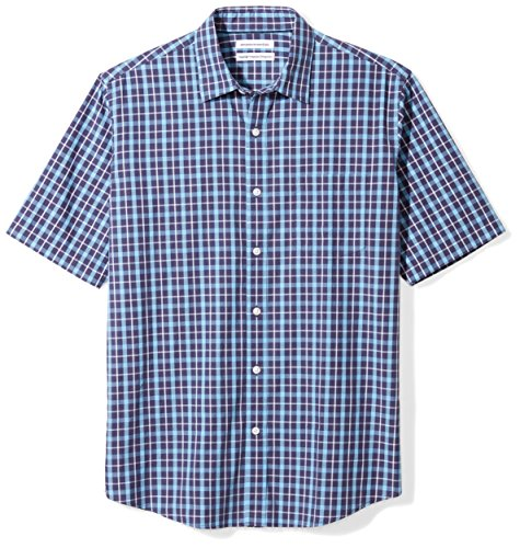 Amazon Essentials Men's Regular-Fit Short-Sleeve Casual Poplin Shirt, navy plaid, Large (Best Shirts To Wear Untucked)