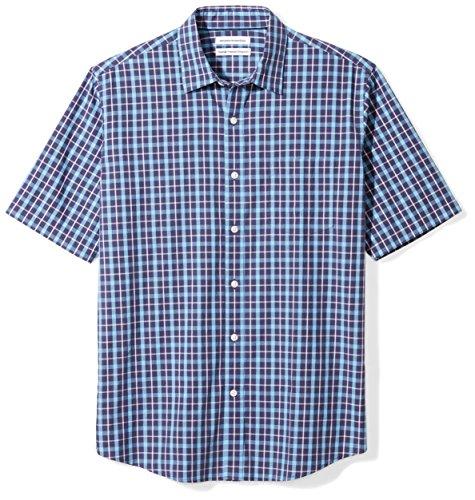 Amazon Essentials Men's Regular-Fit Short-Sleeve Casual Poplin Shirt, navy plaid, Medium