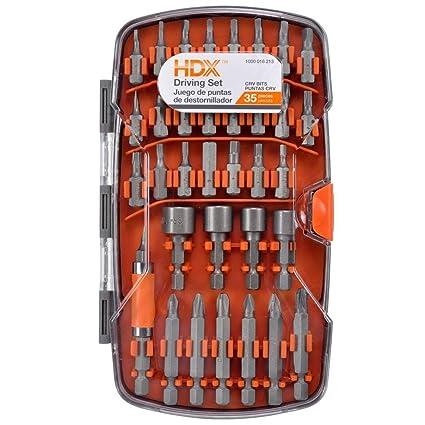 HDX Titanium Drill Bit Set in Hard Plastic Case 35 Pieces ...