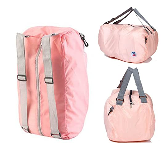 ebf484fa86c PackNBuy Peach/Light Pink Nylon Folding Backpack Bag Organizer for Picnic  Beach Travel Gym Casual