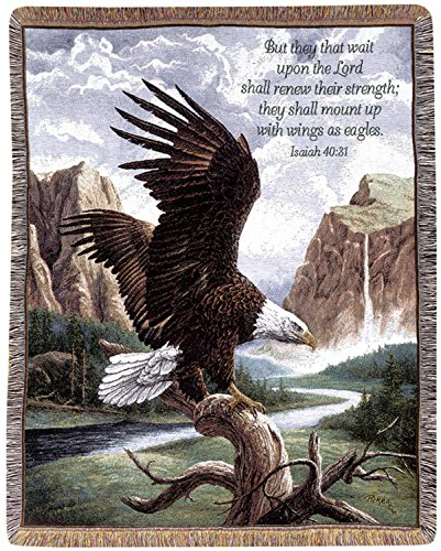 Manual Weavers Religious Inspirational Freedom Eagles Verse Tapestry Throw Blanket 50