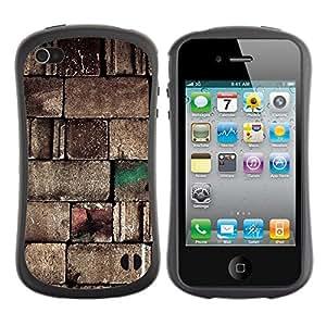 Suave TPU Caso Carcasa de Caucho Funda para Apple Iphone 4 / 4S / Wall Stone Design Blocks Art Architecture / STRONG