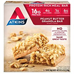 Satisfy your sweet tooth and give your body the nutrients it needs with Atkins Protein-Rich Meal Bars. Filled with crunchy granola made with whole grain rolled oats, dipped with creamy peanut butter and topped with roasted peanuts, our meal b...