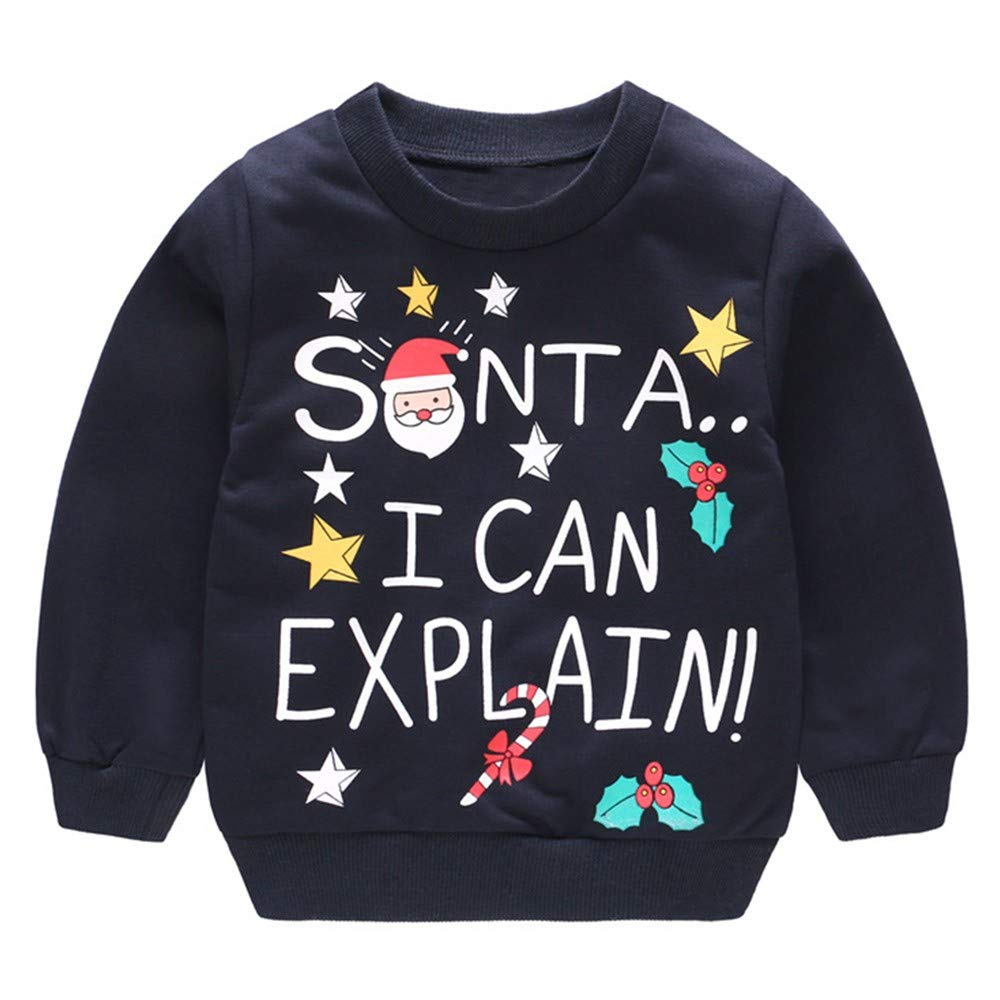 Iuhan Baby Christmas Tops Outfit for 1-4Years Boys Girls, Toddler Girl Boy Long Sleeve Cartoon Christmas Santa Elk Snowman Print Pullover Tops Blouse ...