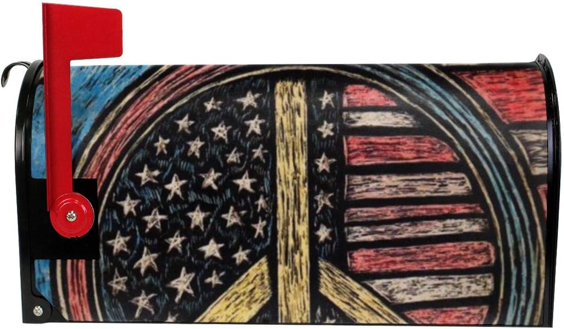 JinSPef Welcome Magnetic Mailbox Cover Wraps American Flag Peace Sign Standard Size MailWrap for Outside Garden Home Decor 21x18 in