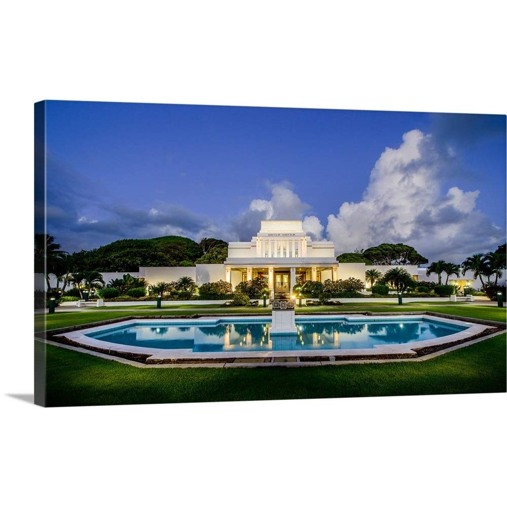 Gallery-Wrapped Canvas Entitled Laie Hawaii Temple, Fountain and Lights, Laie, Hawaii by Scott Jarvie 24''x14''