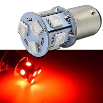 Ruiandsion 1157 BAY15D DC 6V Super Brillante 5050 9SMD Chipsets Red LED Bombillas de repuesto para