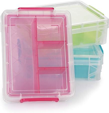 com-four® Caja de Plástico con Compartimentos Separados - Caja Clasificadora de Organización - Caja Organizadora de Plástico con Tapa - Caja de Almacenamiento (03 Piezas - Caja de Almacenamiento): Amazon.es: Hogar