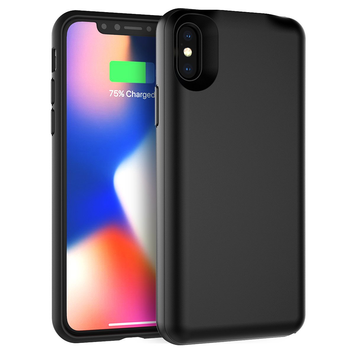 Happon iPhone X Case Battery Protective Portable Charging Case Battery Cover Thin and Slim Hard PC + TPU Surface Non Slip Cover for iPhone X ()