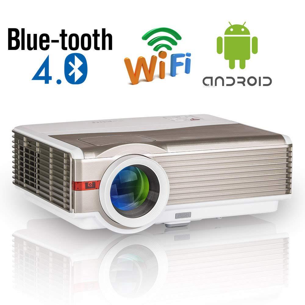 Proyector de Cine en casa para Exteriores con Bluetooth, Proyector de Video Smart WiFi LED de 5000 lúmenes Soporte 1080P de Reflejo de Pantalla ...