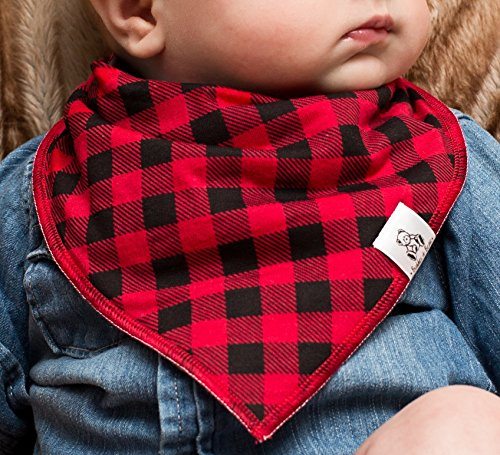 Baby Bandana Drool Bib 4 Piece Set, Best for Teething and Drooling, Absorbent and Soft, ''The Logan Pack'' for Boys and Girls by Buddies + Bear, 100% Organic Cotton + Polyester Fleece, Registry Gift by Buddies + Bear (Image #3)