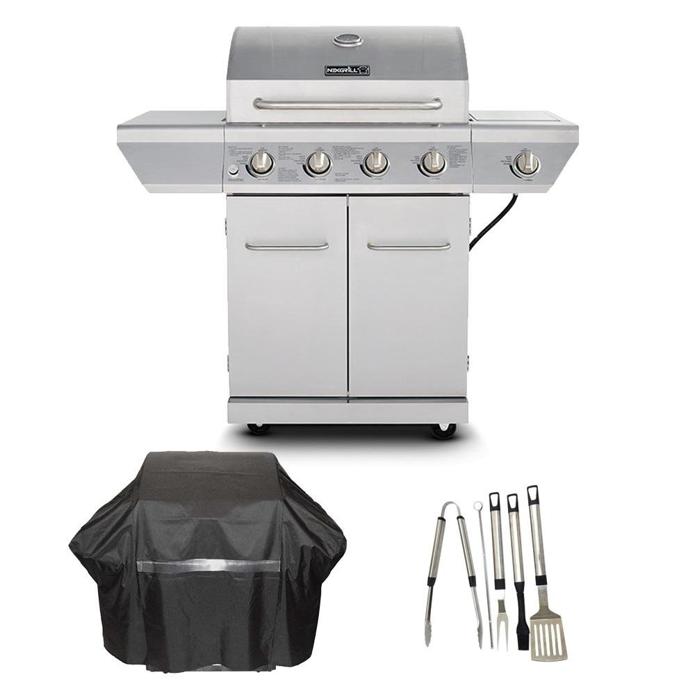 Nexgrill 4-Burner Propane Gas Grill in Stainless Steel with Side Burner and Stainless Steel Doors Plus Cover and Tool Set