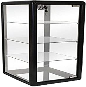 "Only Hangers F-1302B Elegant Black Aluminum Table Top Tempered Glass Display Showcase, 27"" H x 14"" W x 12"" D"