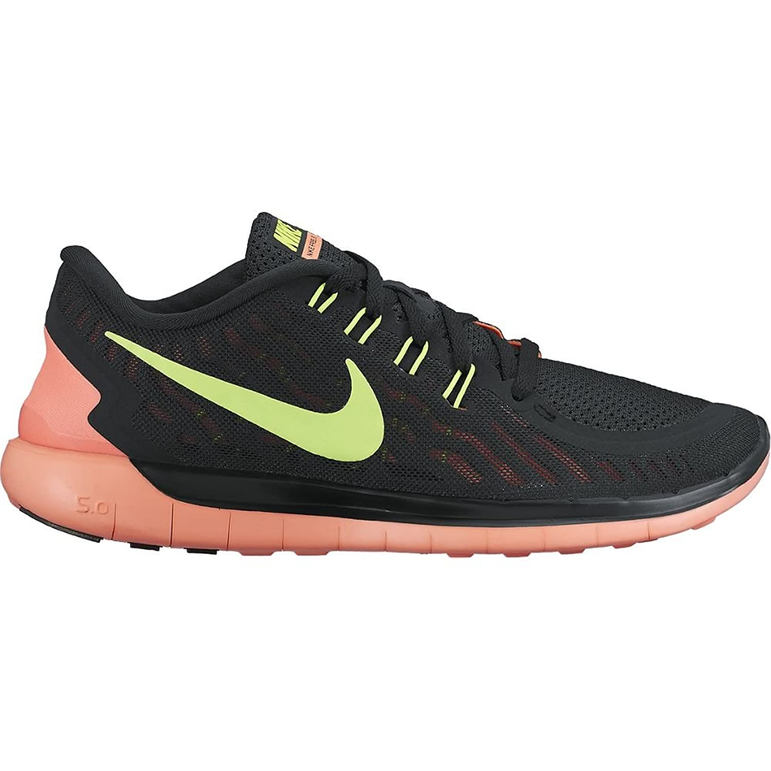 Amazon.com | Women's Nike Free 5.0 Running Shoes Black/Bright Mango/Volt (5  B(M) US) | Road Running