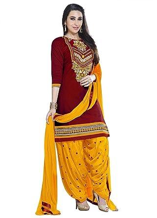 f48b40b419 Lady Loop Women'S Cotton Dress Material Salwar Suit Set (Lado Red  Print_Beige_Free Size)