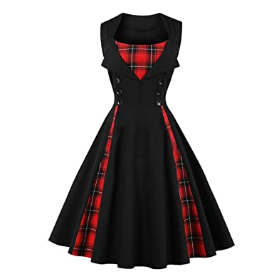 Lovely-Shop Retro Vintage Dress Polka Dot Patchwork Sleeveless Spring Summer Dress Rockabilly Swing Dress
