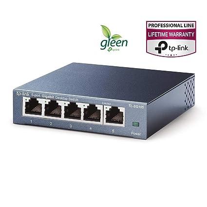 TP-Link TL-SG105 - Switch de red (5 puertos Gigabit para sobremesas, 1000 Mbps, acero inoxidable, IGMP snooping, QoS )
