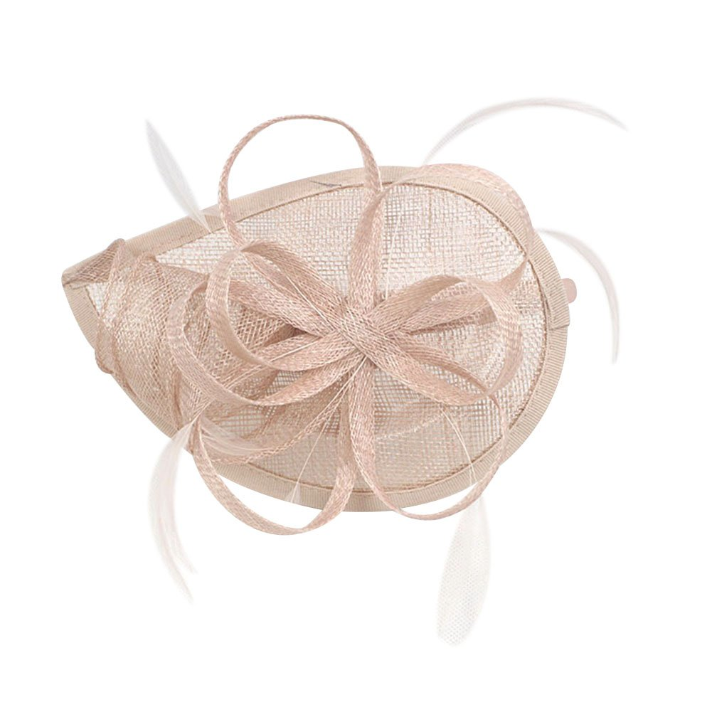 ACTLATI Fashion cambric Headband Feather Hair Band Cocktail Party Headwear Fascinator Hat Nude Pink