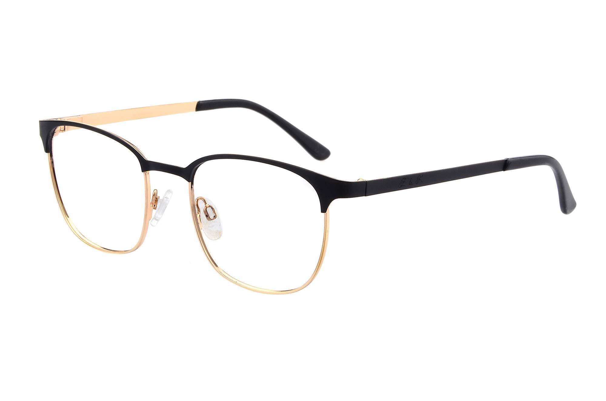 Edison & King Royal reading glasses - timeless elegance with premium lenses incl. Bluelight Protect (+1.00 dpt, black-gold)