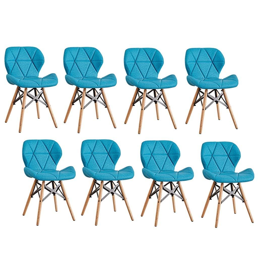 ZCXBHD 【8脚セット】エッフェル スタイル ダイニングチェア レトロ 木製の足 & 布レザー 表面 快適 パッド入りシート バタフライ 背もたれ 現代の 設計 ホームオフィス用キッチンセット (色 : 青) B07S3TLM5S 青