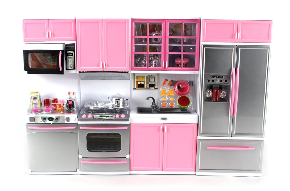 Amazon Com Deluxe Modern Kitchen Battery Operated Toy Kitchen Playset Perfect For Use With   Tall Dolls Toys Games