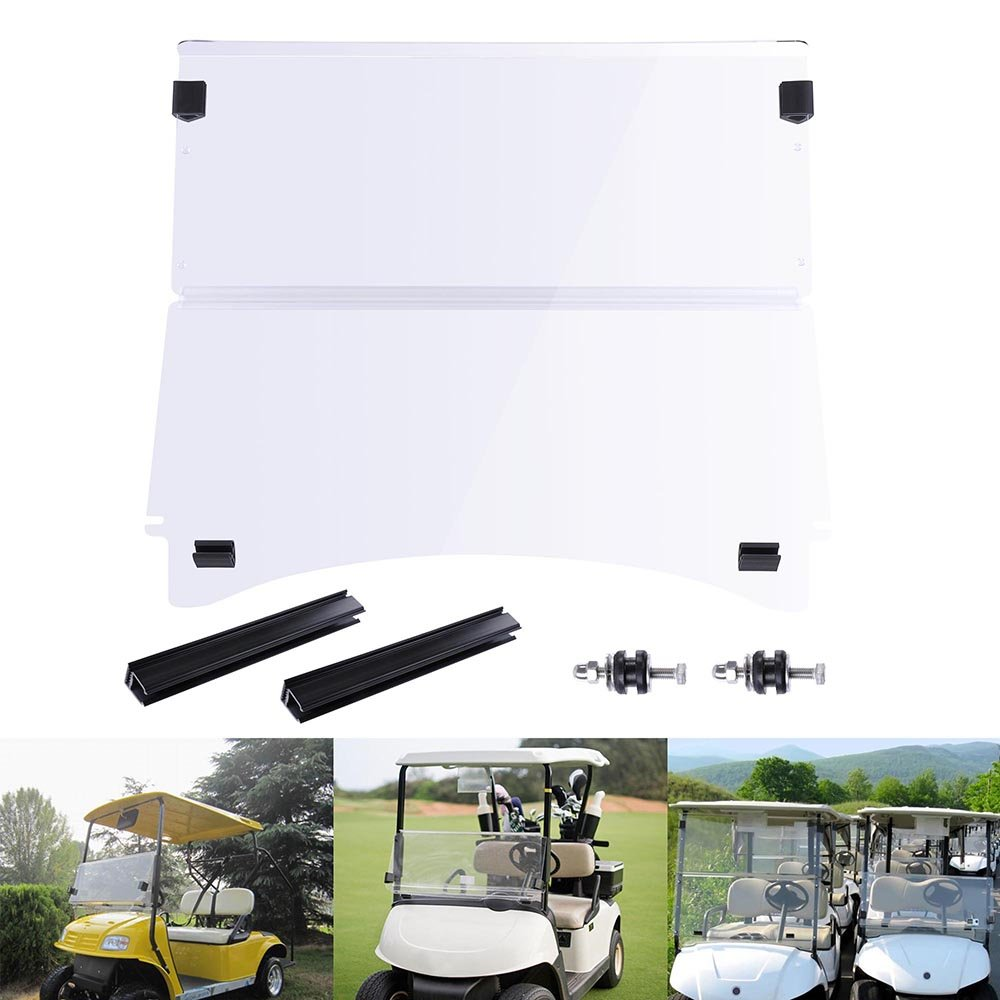 AW Fold Down Golf Cart Windshield Impact Resistant Acrylic Split Windshield Compatible with Club Car Precedent Compatibl