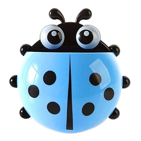 Momangel Creativo Mariquita Porta Cepillos de Dientes con Ventosa Accesorios para Baño (Azul)