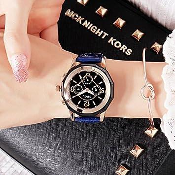 ASDFRTGRF Reloj Reloj de Mujer Impermeable Moda niña / 2018 Estudiante Moda Minimalista Tendencia Ocio Mujer Reloj, Azul: Amazon.es: Deportes y aire libre