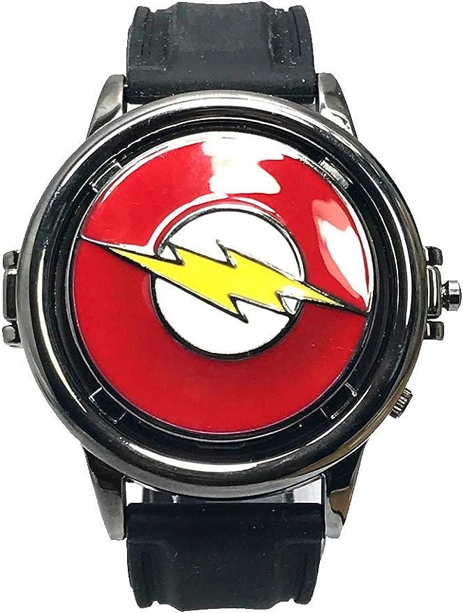 El Flash Liga de la Justicia Spinning analógico Reloj para: Amazon ...