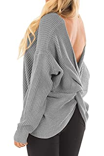 21667325df Moly Magnolia Womens Sexy Back Knot Twisted V Neck Long Sleeve Pullover  Sweater