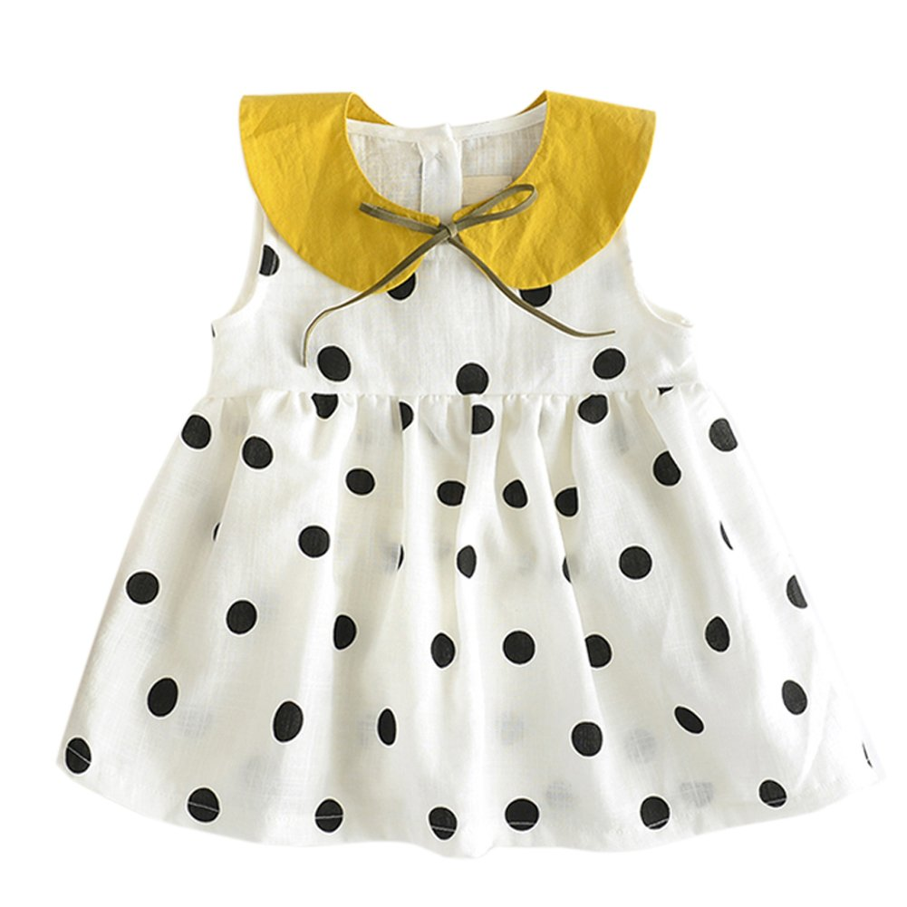 BOBORA Clearance Sales for Long Sleeve Baby Toddler Girls Dress Polka Dot Print Sleeveless Top