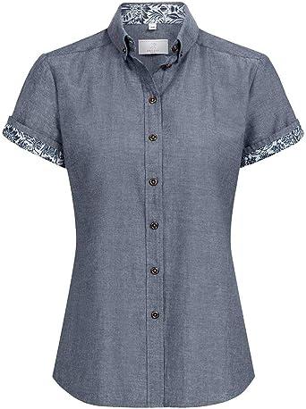 GREIFF - Camisas - Liso - Cuello alto - Manga Corta - para mujer Flower Denim 46 EU: Amazon.es: Ropa y accesorios
