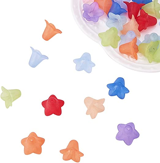 200PCS Mixed Frosted Flower Shaped Transparent Acrylic Bead Caps Beading Finding