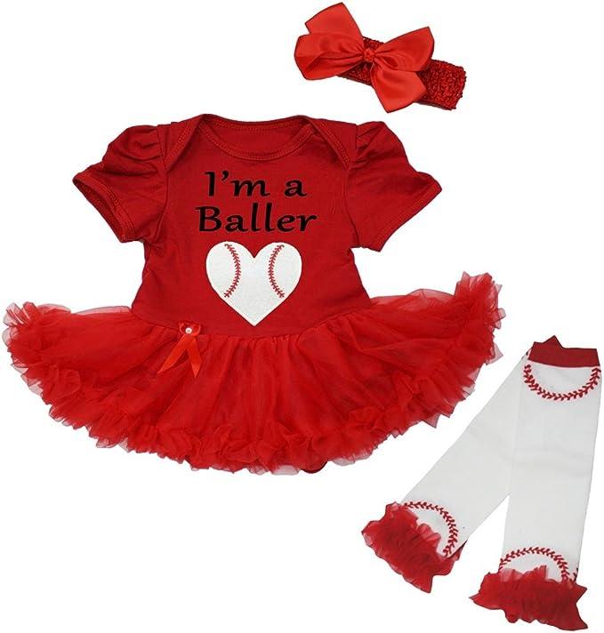Petitebella No Crying In Baseball Bodysuit Red Sequins Tutu Leg Warmer Nb-18m