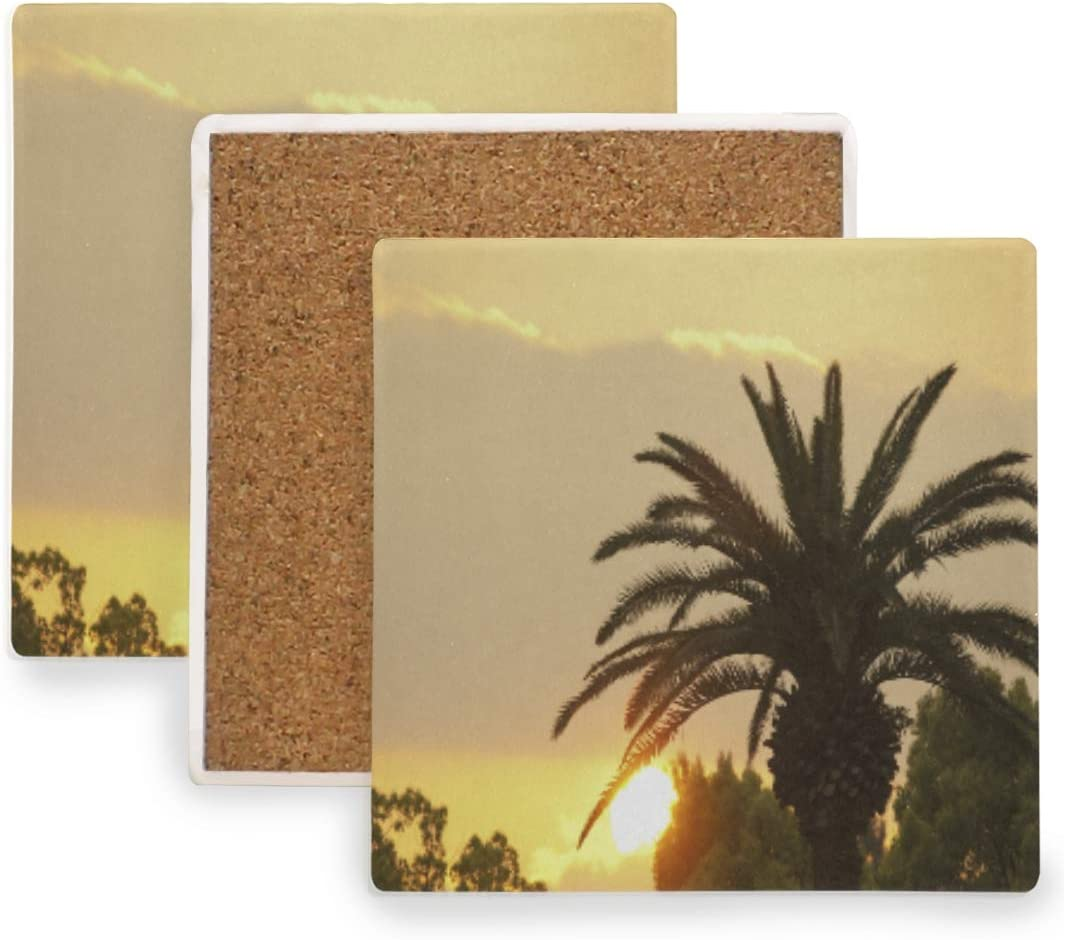Coasters for Drinks, Square Drink Coasters Absorbent Ceramic Stone with Cork Backing Phoenix Sunset Heat Insulation Pad, Protect Your Furniture From Scratches and Damage From Overflow