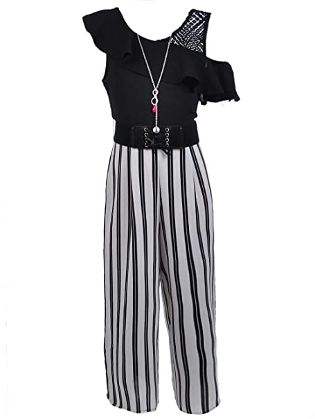 4064c376f7 Beautees Big Girls  Belted Jumpsuit with Necklace - Black