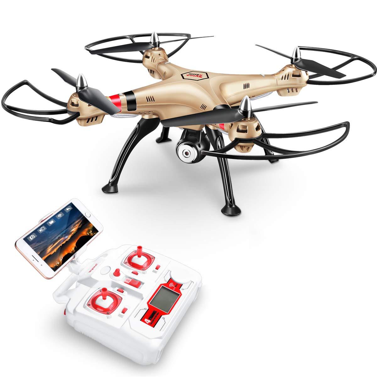 Syma X8HW Nuevo producto 2,4 6-Axis Gyro FPV con la cámara de HD RC Quadcopter Drone incluye una función efectiva de mantenimiento de altitud para volar muy fácil para los principiantes (Color: Oro)