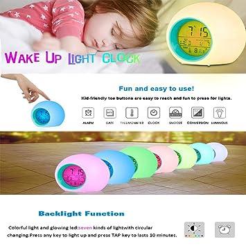 Creativo Redondo Colorido Reloj Despertador Calendario Noche Luz Reloj Despertador Mesita de Noche Niños Reloj Alarma: Amazon.es: Hogar