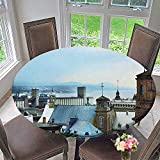 """Mikihome Round Tablecloths Quebec City Skyline Tin Rooftops Churches or Everyday Dinner, Parties 40""""-43.5"""" Round (Elastic Edge)"""