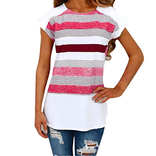 TIFENNY Women Fashion Elegant Short Sleeve Tops Triple Color Block Stripe T-Shirt Casual Blouse