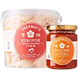 Shermay's Singapore Fine Food Bundle: Prawn Crackers Keropok Bucket, 200g with Cilicuka Original, 240ml