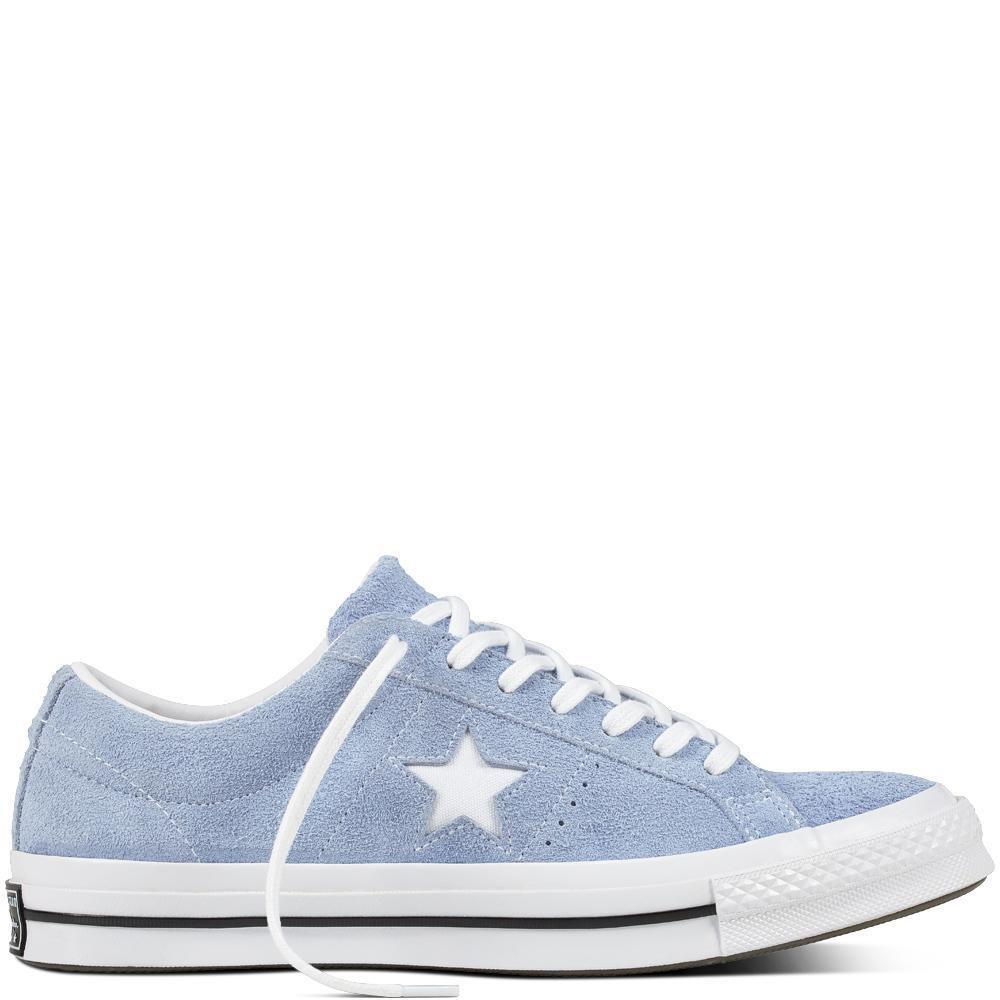 Converse Unisex-Erwachsene Lifestyle One Star OX Suede Fitnessschuhe, Schwarz  36 EU|Blau (Blue Chill/White/Black 457)