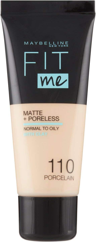 Maybelline New York, Base de Maquillaje que Calca a tu Tono Fit me! Mate y Afinaporos, Color: 110 Porcelain