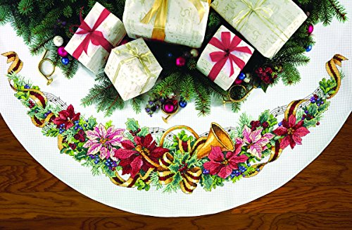 (Dimensions Counted Cross Stitch Tree Skirt Kit, Holiday Harmony, 11 Count White Aida, 45'')