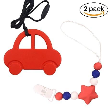 INCHANT 2 en 1 coche de silicona collar de dentición y Chupete clip para niños y niñas con 100% de perlas masticables Teether Safe - niño y infantil ...